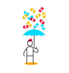 business of a man holding blue umbrella and vector image