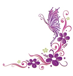 Butterfly flowers vector image
