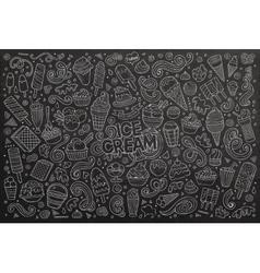 Chalkboard cartoon set of ice-cream objects vector
