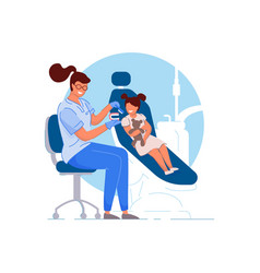child dentist doctor specialist woman teaching vector image