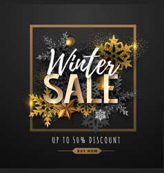 christmas poster with golden snowflakes winter vector image