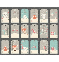 Collection of 18 Christmas and New Year gift tags vector image