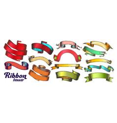 color different ribbon set vintage vector image
