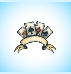 colored handdrawn playing cards vector image