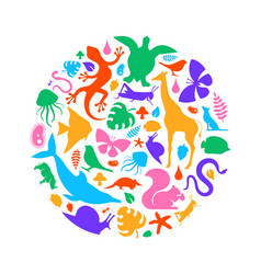 Colorful wild animal icon circle shape isolated vector
