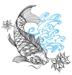 contour image of koi fish with wave and flower vector image