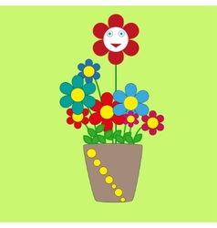Cute cherful flowers in a pot vector image