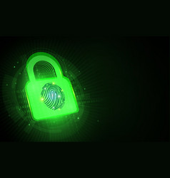 cyber security and padlock with fingerprint vector image
