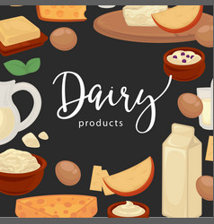 dairy products promotional poster with natural vector image