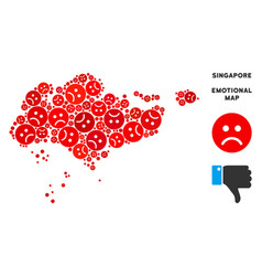 Dolor singapore map mosaic of sad emojis vector
