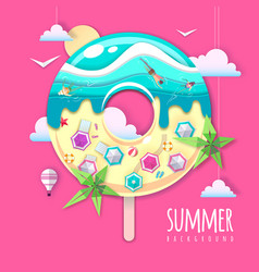 donut with sea or osean island landscape inside vector image