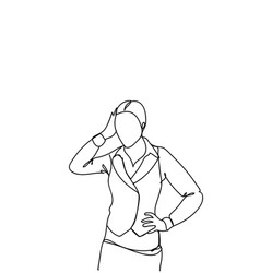Doodle frustrated business woman holding head vector