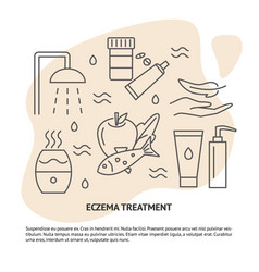 eczema treatment concept banner in line style with vector image
