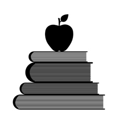Education symbol stack of books and apple vector image