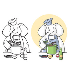 elephant cook vector image