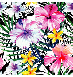 Exotic tropical floral watercolor seamless vector