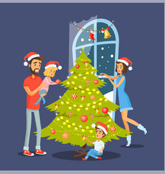 family and christmas tree vector image