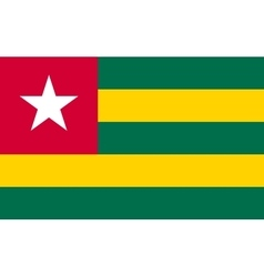 Flag of Togo in correct proportions and colors vector
