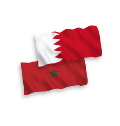 Flags morocco and bahrain on a white background vector