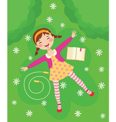 Funny girl relaxing on green grass vector