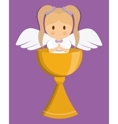 girl angel cartoon cup icon graphic vector image