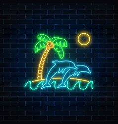 glowing neon summer sign with jumping dolphins vector image