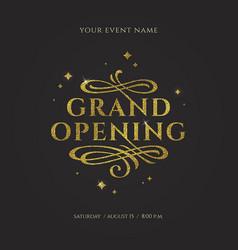 Grand opening - glitter gold logo vector