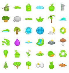 Green leaf icons set cartoon style vector