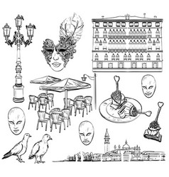 Hand drawing set of venice sketch vector