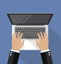 Hands on Laptop Keyboard top view vector image