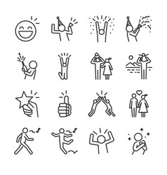 happy line icon set vector image