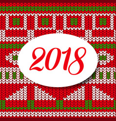 happy new year card 2018 sweater pattern vector image