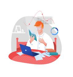 home work study flat cartoon vector image