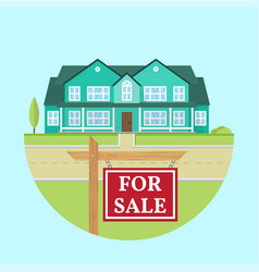 House for sale flat icon suburban american vector