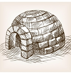 Igloo snow house hand drawn sketch vector image