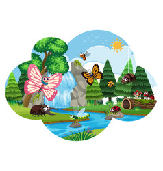 inscets and butterflys in waterfall scene vector image