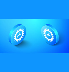 Isometric gearwheel with tap icon isolated on blue vector