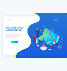 landing page with isometric business and finance vector image