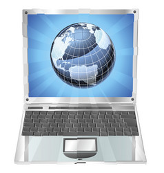 laptop globe concept vector image
