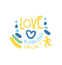 Love running sport logo symbol colorful hand vector