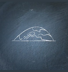 Low hill icon on chalkboard vector