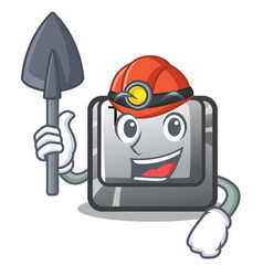 Miner button t in keyboard cartoon vector