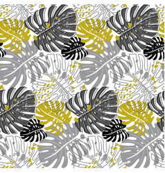 modern pattern with monstera leaves in monochrome vector image