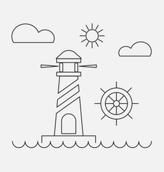 nature landscape iconsthin line style vector image