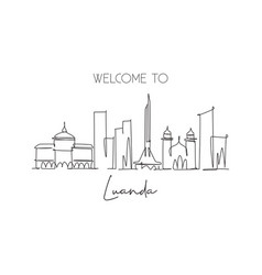 One continuous line drawing luanda city vector