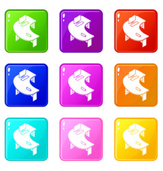oval office table icons set 9 color collection vector image
