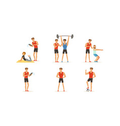 personal gym coach helping people characters vector image