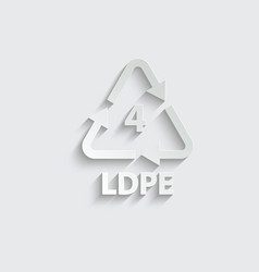 Plastic recycling symbol ldpe 4 plastic code vector