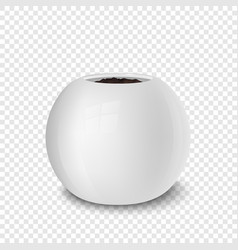 Realistic white flower pot with soil vector