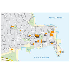 road map of the old city of panama city panama vector image